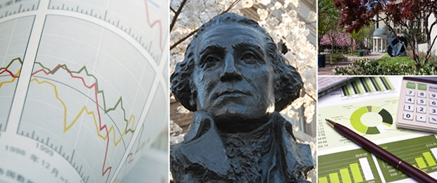 Photo collage of financial forms, GW bust, and Kogan Plaza